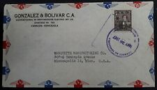 1947 Venezuela Airmail Cover ties 1B stamp cancelled Caracas to USA