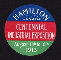 CANADA POSTER STAMP HAMILTON CENTENNIAL INDUSTRIAL EXPOSITION 1913 MNH-OG