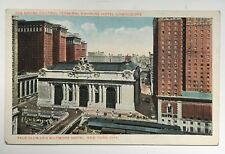 NY Postcard NYC Grand Central Terminal Station RR Hotel Commodore Yale Club
