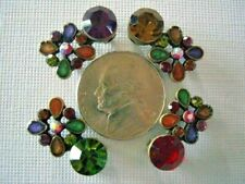 2 Hole Slider Beads Floral Dots Mixed Crystal With Swarovski Elements 4 Pieces