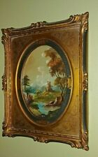(2) Antique Landscape Oil On Board Painting  Signed Hone - Elaborate Gold Frame