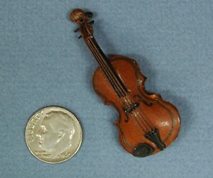 """Miniature Violin made in Philippines, Wood, 2"""" Long, 1:12"""
