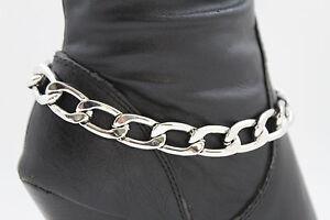 Fun Women Silver Metal Chain Boot Bracelet Anklet Shoe Charm Chunky Strand Links