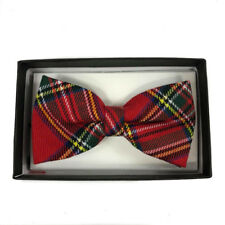 Tuxedo Unique Style Red Pattern Plaid Neckwear Adjustable Adult Men Bow Tie