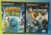 Disney G Force + Monsters vs Aliens - PS2 Playstation 2 Game Lot Tested Complete