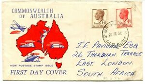Australia 1950 new definitive 4½d. + 6½d. illustrated f.d.c. to South Africa