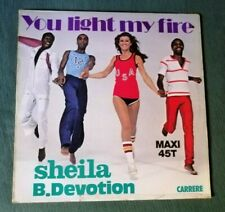 """SHEILA B. DEVOTION : You light my fire / Gimme your loving 12"""" MAXI CARRERE 8026"""