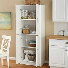 Tall Kitchen Pantry Cabinet Freestanding Shelf White Cupboard Storage Organizer
