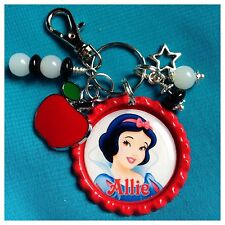 Personalized SNOW WHITE Bottle Cap KeyChain, Name Necklace, Jewelry, Zipper Pull