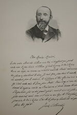 GRAVURE SUR BOIS JULES CLARETIE ECRIVAIN  ALBUM MARIANI 1894 AUTOGRAPHE