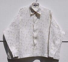 NEW Eskandar WHITE Floral Print Light Weight Linen Classic Collar Top (0) $895