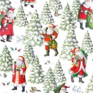 Caspari 8' Continuous Gift Wrap Roll, Woodland Santa (9759RC)