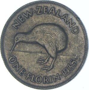 Better Date - 1935 New Zealand 1 Florin - SILVER *618