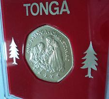 1983 Tonga One Pa'anga Christmas Xmas Card Keepsake BU Coin Gift in Display Case