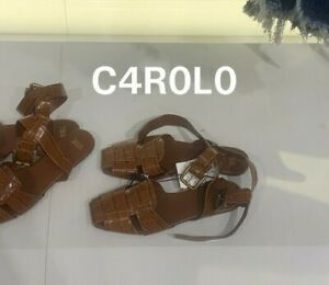ZARA NEW FLAT LEATHER CAGE SANDALS ALL SIZES REF. BROWN | 2527/810