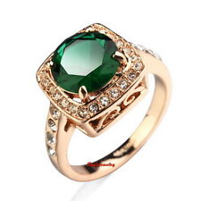 18k Rose Gold Plated Round Emerald Green Stone Square Face Shape Ring Size 9 R11
