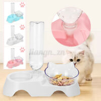 2 in1 Pet Cat Bowls Food Water Dispenser Elevated Raised Stand Dish  yy