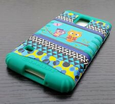 For Samsung Galaxy S5 - HARD & SOFT RUBBER HYBRID CASE TURQUOISE GREEN TREE OWLS