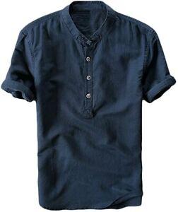Runcati Mens Linen Henley Shirts Beach Short Sleeve Cotton Tops Lightweight Tees