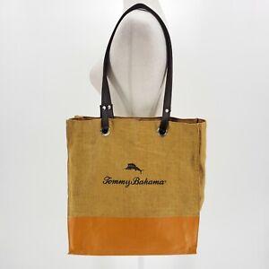 Tommy Bahama Woven Straw Tan & Orange Tote Bag