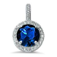 2.5 ct. Sapphire & White Sapphire Halo Pendant Necklace in Sterling Silver