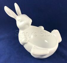 Pottery Barn Easter Bunny Belly Bowl Candy Dish Serving Snack White Ceramic NIB
