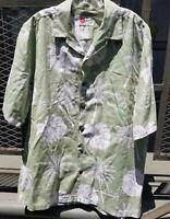 Hilo Hattie Cotton Large Hawaiian Green Shirt Palm Trees Aloha Camp EUC Vintage