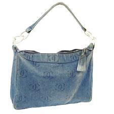 Authentic CHANEL CC Logos Plastic Chain Shoulder Bag Blue Denim Vintage A31197