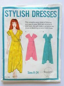 Threadcount TC1908 Stylish Wrap Dress Uncut Sewing Pattern Size 8-24