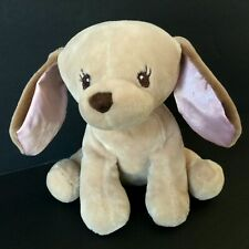Carters Tan Puppy Dog Plush Pink Satin Ears Sewn Eyes Security Stuffed Lovey