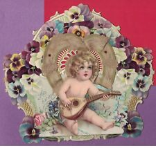 0518K Antique Victorian Valentine Easel Back Cherub Plays Mandolin Brundage
