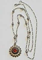 """Beautiful vintage silver tone chain necklace with yellow stone pendant. 34"""" long"""