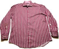 Bugatchi Uomo Mens Red Vertical Striped Button Front Long Sleeve Shirt Size XL