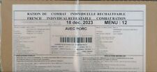 NEW ! #2023 Ration de combat  armée  Menu 12 RCIR-MRE nouvelle version 24 H 00