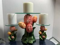 3 Tulip Candle Holder's With Glass Tops Can Be Used As Mini Shelves. Unusual