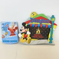 Disneyland Magnet Lot of 2 Mickey Mouse Main Street Photo Frame Cinderella Sew
