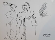 1991 - ABSTRACT MODERNISM NUDE COUPLE INK PAINTING SIGN.