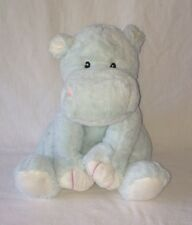 "Toys R Us Plush Hippo Light Blue Pink White Baby Soft Stuffed Animal 11"" 2014"