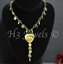 9.40 grams 18k  yellow gold diamond cut heart necklace italian 18 inch stylish