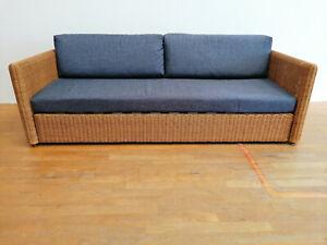 Rattansofa Schlafsofa blau 215 cm (H77)