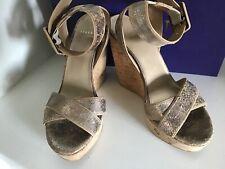 STUART WEITZMAN Annex Crackled Leather Cork Wedge Sandal  6 women