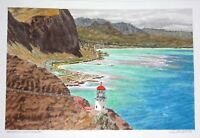 "Original Hawaii Watercolor Painting ""Makapuu Lighthouse, Oahu"" by L. Segedin #57"
