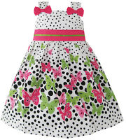 Girls Dress Butterfly Print Dot Green Party Child Clothing Size 2-8