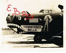 """WWII PHOTO 8X10 OF B-24 BOMBER 14TH USSAF """"NOSE ART """"TENNESSEE BELLE"""" 308TH BG"""