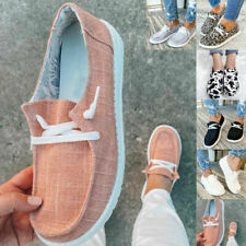 US Women Fashion Lace Up Canvas Flat Trainers Ladies Casual Loafers Pumps Shoes