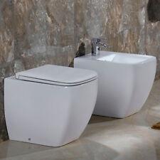 Sanitari filo muro wc + bidet ceramica sedile soft-close design moderno OFFERTA