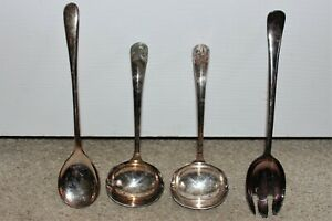 Vintage G48 Serving Utensil Set Fork Spoon Gravy Ladle Tarnished Silver Plate