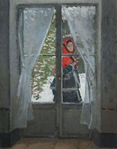 Claude Monet The Red Kerchief Portrait Of Madame Monet Canvas 16 x 20    #3622