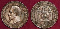 FRANCE 10 centimes 1855D chien dog Napoléon III tête nue