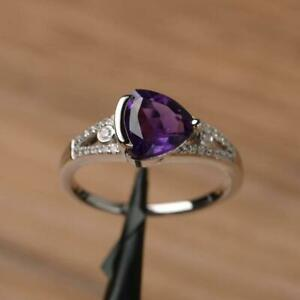 2Ct Trillion Cut Amethyst Womens Solitaire Engagement Ring 14K White Gold Finish